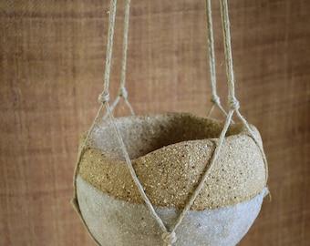 Small hanging stoneware planter