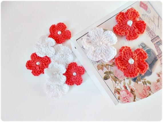 Crochet appliques crochet flowers appliques peach white - Appliques flos ...