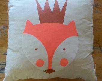 Fox Cushion wih Geometric Print on Reverse