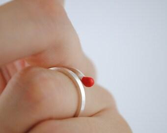 Anillo cerilla, anillo de plata, anillo minimal, anillo esmaltado, anillo rojo, anillo sencillo, anillo plata y esmalte