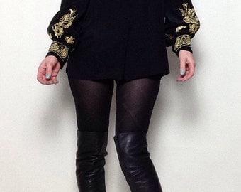 Vintage Diane Von Furstenberg Silk Blouse | 100% Black Silk | Gold EMboireded | Oversized | Rose | DVF | Designer | Gothic
