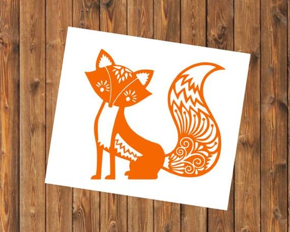 Free Shipping-Mandala Fox Decal,Yeti RTIC SIC Cup Decal, Mandala Fox, Car Window Decal, Laptop Fox Sticker Decal, Personalized Decal Sticker