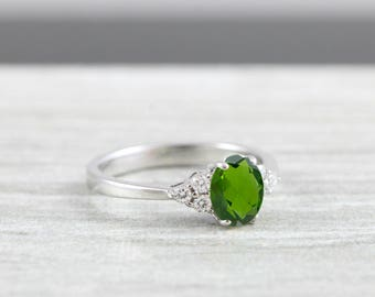 Green Tourmaline and diamond oval engagement ring in white/rose/yellow gold for her handmade ring UK