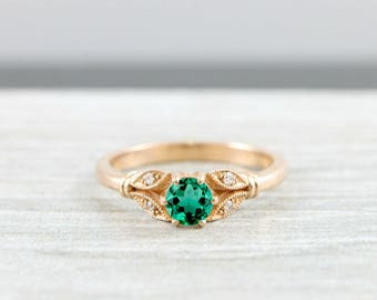 Lab grown Emerald and diamond engagement solitaire nature inspired leaf ring in gold handmade