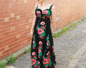 Vintage 1950s Horrockses Sundress / Floral Sweetheart Cotton 50s Dress / Maxi Dress / M/L