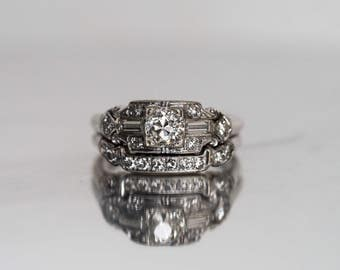 Circa 1920s Art Deco 14K White Gold GIA Certified .53ct Old European Cut Diamond Engagement Ring & Band Set - VEG#711