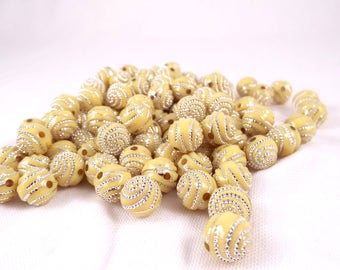Yellow Acyrlic Round Beads W/ Silver Dotted Spiral Pattern Approx 110 pcs 9.5mm