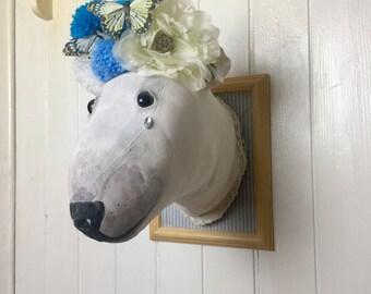 Textile polar bear with tear