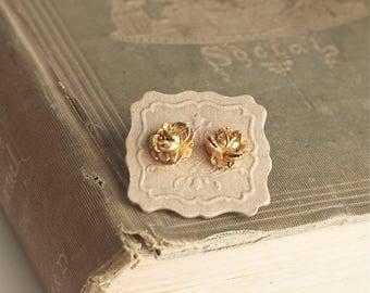 Brass Rose Stud Earrings Romantic Vintage Style Post Earrings