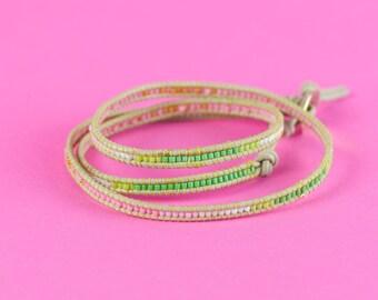 BRACELET WRAP WATERMELON Design, Tiny Wrap Bracelet Watermelon, Miyuki Jewelry