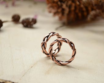 Braid wedding Copper rings, Alternative wedding band set, Unisex ring, rope ring, Everyday casual jewelry, Rustic style engagement