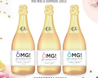 Mini OMG You're Getting Married Labels, Mini Champagne Labels, Engagement Party Favors, Congratulations to Bride & Groom, Engagement Gift