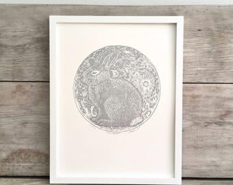 Moon Rabbit Linocut Art Print, Silver