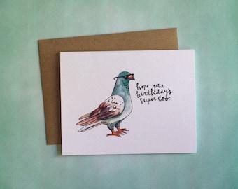 Super Coo Birthday Card, Birthday Cards, Happy Birthday, Pigeon, Birthday Gifts, Coo Coo, Pigeon Art, Pigeon Painting, New York City, Birds