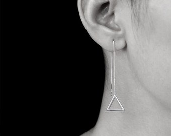 Sterling Silver Geometry Triangle Threader Earring | Geometry Jewelry I Personalized Gift