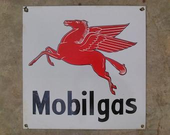 Mobil Gas Oil Flying Horse Vintage Rare Porcelain Enamel Sign Board Collectible
