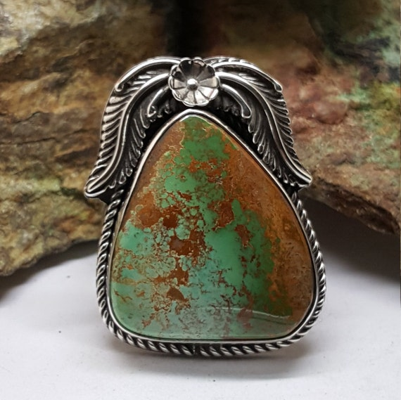 Royston Turquoise Set In Sterling Silver Ring Sz 10 1 4