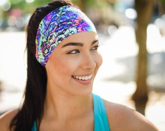 Workout Headband - Yoga Headbands - Fitness Headband - Running Headband - Boho Wide Headband - No Slip - Non Slip (Psychedelic Punch)