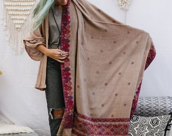 Embroidered Shawl Wrap In Beige, Wool Shawl Scarf, Tribal Embroidered Shawl, Large Shawl, Winter Fashion Accessories