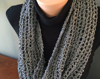 Slate Gray/Pewter Cowl - Hand Knit - Metalic look -