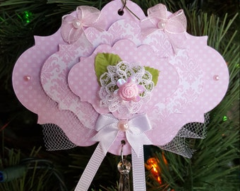 Soft pink lacy, bows and ribbons Christmas ornament vintage/victorian and traditional