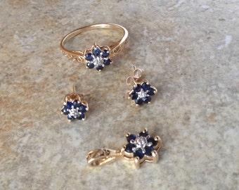 Vintage Delicate Sapphire Engagement Ring 10K PSCO Set Valentine's Day