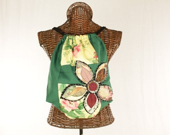 Bohemian Chic Drawstring Upcycled Green Flower One of a Kind Backpack fl12