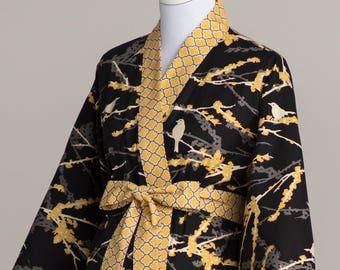 Plus Size Maternity Kimono robe. Plus Size Maternity Hospital Nursing Robe. Plus 1xl 2xl 3xl. Pre Post Delivery Gown Cotton AV2 Black Yellow