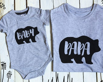 Papa Bear Baby Bear, Daddy and Me, Matching Family Shirts, Father's day gift, Father Son Matching Shirt, Bear Shirts, Papa Bear, Baby Bear