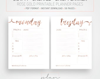 Printable planner, Rose gold Daily planner, Undated planner, 8.5 x 11 planner, Letter sized planner, Big Happy Planner, Mambi Big inserts