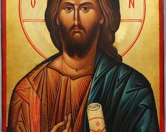 Jesus Christ Pantocrator Vatopedi Monastery Hand-Painted Orthodox Byzantine Icon on Wood 30 x 20cm (Premium Quality)