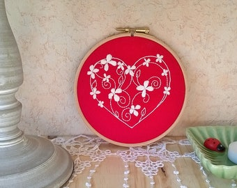 embroidery hoop wall art - wall decor - Embroidered wall hanging - heart decor - hoop art -  embroidery wall art