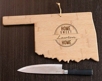 Oklahoma State Shaped Cutting Board, Engraved Oklahoma Shaped Cutting Board