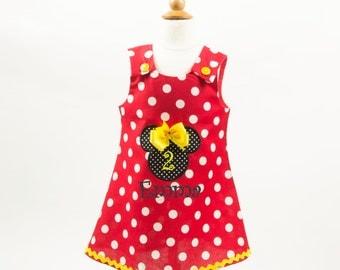 Girl Minnie Mouse dress Girl Minnie birthday dress Girl Minnie applique dress Girl red Minnie dress Girl A-line dress Girl age name dress