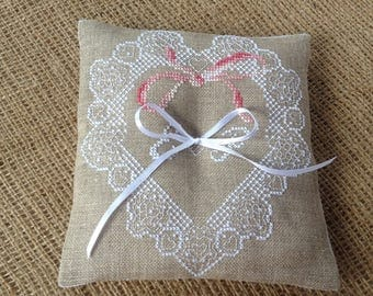 Embroidered ring bearer pillow Rustic wedding pillow Personalized gift Bride Groom initials Natural linen color  Lace heart