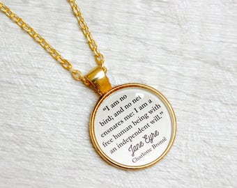 """Jane Eyre Quote Necklace Charlotte  Bronte """"I am no bird and no net ensnares me"""" Literary Book Gift Jewelry Jewellery Library Card"""