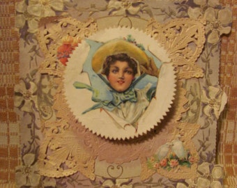 SALE Antique Valentine's Day Card Gibson Girl Pop-Out Romantic Sentiment