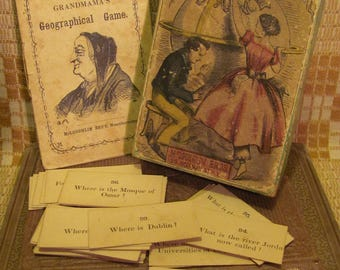 Rare 1860's Mcloughlin Bros. Card Game 'Grandma's Geographical Game