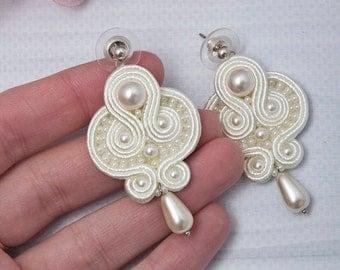 Wedding Soutache Earrings Ivory Swarovski Pearl Dangle Earrings Long Boho Bridal Jewelry