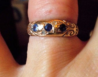 SALE###Genuine sapphire and diamond Art Nouveau solid 9k yellow gold ring size 7.5