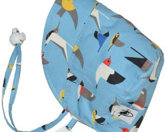 Infant's Sun Protection Bonnet - Organic Cotton Print in Seabirds (newborn, 3 month, 6 month, xxs)