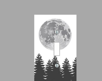 light switch plate cover black and whight trees and moon