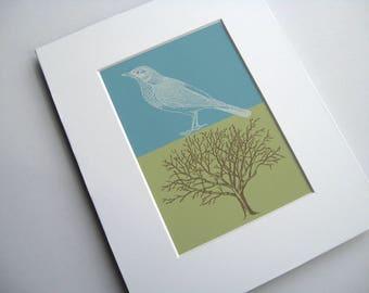 Matted 5 x 7 Bird and Tree Art, Tree Woodcut, Bird Etching, Nature Print