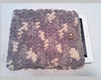 Chenille 10 Inch Tablet iPad Cover with Vintage Button, Hand Crocheted Tablet Sleeve, Gray, #SS-B10-1, Washable, Free Domestic Shipping