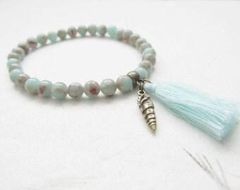 Jasper bracelet, summer bracelet, tassel bracelet, beach jewelry