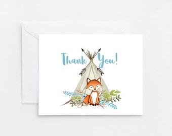 Fox Thank You Card, Printable Card (722)