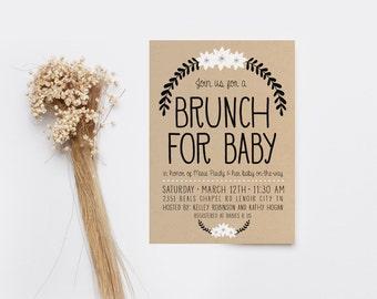 Baby Shower Brunch Invitation, Simple, Boho, Gender Neutral Invitation, Printable (315)