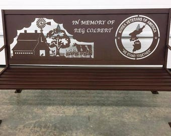 Custom Personalized Vintage Style Six Foot Long Iron Metal Memorial Bench