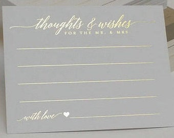 WEDDING ADVICE Cards | Advice for the Bride and Groom | Guest Book Cards | Well Wishes Cards | Newlyweds Advice Cards | Gold Foiled Stamped