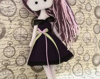 Paperdoll rag doll Myrtille, plush girl